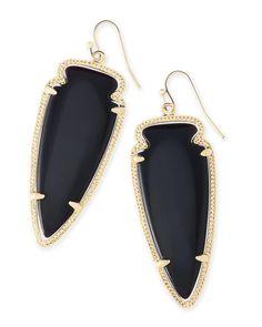 Skylar Arrowhead Statement Earrings in Black   Kendra Scott