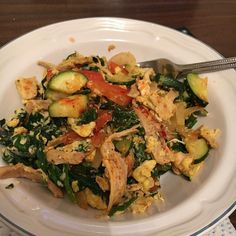 When you don't know what to throw together for dinner so you make a dump skillet dinner with leftover whole chicken zucchini spinach red pepper onion eggs and minced garlic. #Yum . . . . #Whole30 #whole30challengeaccepted #Whole30May #Gettingfit #gettinghealthy #fitness #health #wellness #aprilgettingfit #exercise #cleaneating #healthylife #mealprep #food #Whole30Day8 #Kitchenlife #whole30approved #Whole30Challenge #eatlocal #shoplocal #organicproduce #freerange #eatlocalgrown…