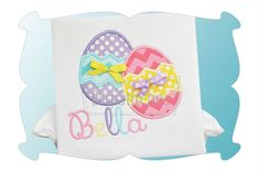 Easter Egg Times 2 Applique! Double the fun! Mara Embroidery Font is available as a separate purchase.
