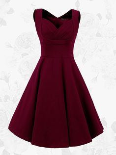 1950s Burgundy Vintage Square Neck A-line Solid Dress(Get it within 3 Days)                                                                                                                                                                                 More