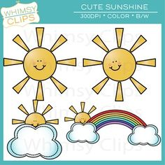 FREE - cute sunshine clip art. High resolution clip art by Whimsy Clips.