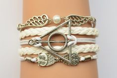 Sliver Deathly Hallows Wings & Owls Charm Bracelet by NavyBackyard