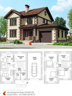 Projet de la maison Projet de la maison de deux étages de 100 mètres dans le style classique avec un garage de une superficie de 149 Sims House Design, Bungalow House Design, Minimalist House Design, Modern House Design, Home Design Plans, Dream Home Design, Sims 4 House Plans, Small Villa, Model House Plan