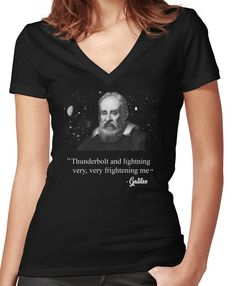 26e6265a7 Thunderbolt and lightning Galileo Meme Women's Fitted V-Neck T-Shirt  Thunderbolt And Lightning