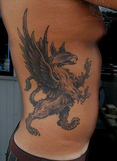 Griffin Tattoo On Side Rib