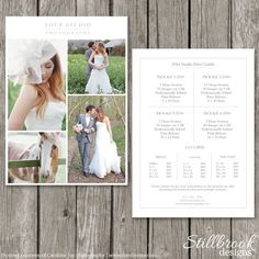 Wedding Photography Price List Session Packages Pricing Sheet
