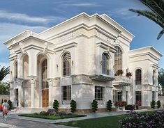Classic villa with white stone - UAE Classic House Exterior, Classic House Design, House Front Design, Dream House Exterior, Cool House Designs, Villa Design, Facade Design, Exterior Design, Weatherboard House