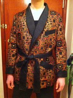 1920s smoking jacket made for a friend for his birthday.  Love this fabric.