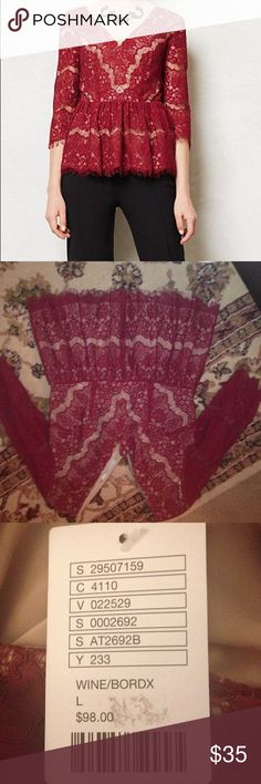 Maeve top Nwt Maeve Peplum lace top in wine/burgundy. Zipper in back. Accepting offers! Anthropologie Tops