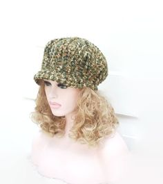 Hand Crocheted Chunky  Newsboy Baker Boy Hat by slouchiehats, $49.00