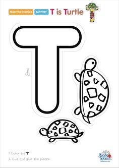 Preschool Letter Crafts, Alphabet Letter Crafts, Abc Crafts, Alphabet Book, Letter Tracing, Letter T Activities, Preschool Activities, Learning Letters, Letter Recognition