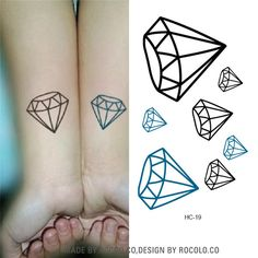 HC1019 Black And Blue Diamond Harajuku Waterproof Fake Tattoo Wholesale Men And Women Lovers Fashion Temporary Tattoo Stickers