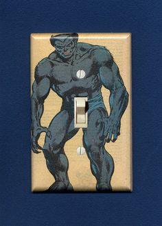 Furry blue Beast. Quality-made light switch plate. $14.95.