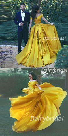 Off the Shoulder Prom Dress, Soft Satin Prom Dress, Beading Prom Dress, Yellow Prom Dress, A-Line Prom Dress, DA914 #dairybridal #PromDress
