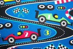 Lillestoff Race Kinder Bio Jersey Auto Rennbahn Stoff blau rot gelb farbenmix