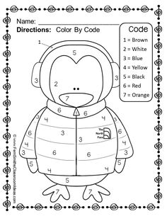 FREE Winter Fun! Numbers - Color Your Answers Printable #FREE #Freebie #TPT #Winter #Penguin
