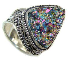 $58.15 Classy+Rainbow+Titanium+Druzy+Sterling+Silver+Ring+s.+10 at www.SilverRushStyle.com #ring #handmade #jewelry #silver #titanium