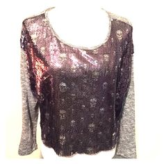 TAKE 50% OFFGray Skull Sequin Blouse EUC! Tag size medium! Sparky shirt and gray with silver in the sweater part! Smoke Free Home. Free Gifts With All Purchases. No Trades. Remember 20% Fee. Thanks for shopping with me Sweaters Crew & Scoop Necks