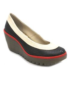 Loving this Devil Red Yoko Perforated Leather Wedge on #zulily! #zulilyfinds