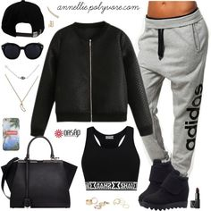 A fashion look from January 2015 featuring adidas activewear pants, Fendi handbags and Sydney Evan jewelry. Browse and shop related looks.