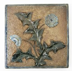 Martin Brothers stoneware tile, dated 1881, modelled in low relief with dandelion flowers
