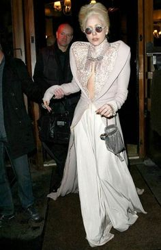 Lady GaGa sported Jan Taminiau Fall 2010 Couture look in Paris while she was on her way to Chez Andre restaurant.