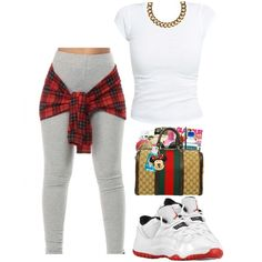 A fashion look from February 2015 featuring party tops, gray leggings and chain necklace. Browse and shop related looks.