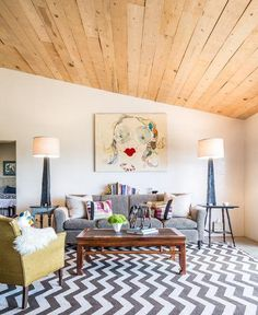 From the artwork to the rug to that pair of handmade lamps (crafted from charred wood!), this New Mexico living room nails a just-quirky-enough aesthetic.