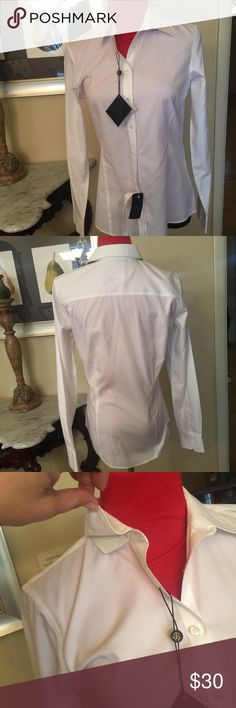 NWT Brooks Brothers shirt SIZE 4 White button down shirt. Non iron stretch collection Brooks Brothers Tops Button Down Shirts