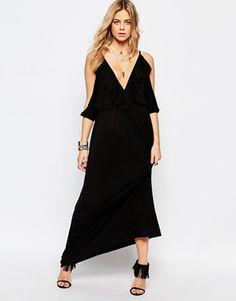 Boohoo Ruffle Cold Shoulder Plunge Maxi Dress