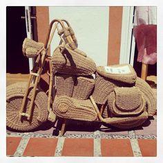 Straw motorbike in #Marbella #motorbike #wicker...   Wicker Blog  www.wickerparadise.com