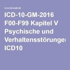 ICD-10-GM-2016 F00-F99 Kapitel V Psychische und Verhaltensstörungen ICD10