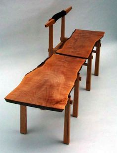 Continuous Maple Slab table and stool made from Maple and Red Oak.