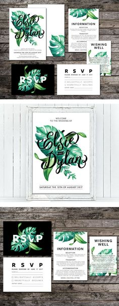 Tropical Wedding Invitation Suite, White, Green, Typography, Wedding Suite, Modern, Palm, Summer, Script, Beach (Intertwined) Digital File Only // WHAT CAN BE INCLUDED? // - Main wedding invitation - RSVP card - Gift registry/wishing well card - Details/reception/enclosure card - Map card - Save the date - Thank you card - Website card - Rehearsal dinner invite - Bellyband - Envelope liner - Menu - Place cards - Table numbers - Seating chart - Programs - Favor tags Affiliate Product
