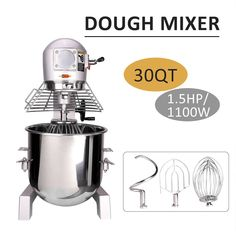 3 Speed Commercial Dough Food Mixer 30 Quart Stainless Steel Pizza Bakery for sale online Pizza Dough Mixer, Thing 1, New Gadgets, Restaurant Recipes, Kitchen Aid Mixer, Whipped Cream, Food Processor Recipes, Bakery, Commercial