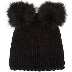 Barneys New York Women's Wool-Blend Double Pom-Pom Hat ($69) ❤ liked on Polyvore featuring accessories, hats, black, pompom hat, crown hat, thick knit hat, barneys new york and chunky knit hat