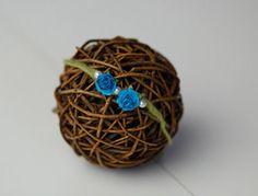 Blue Rose Newborn Headband by CrownedCreationsShop on Etsy
