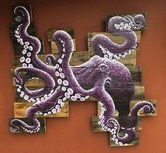 Purple Octopus on crazy shape board background. Polycrylic coated so it is weather resistant. Octopus Painting, Turtle Painting, Painting & Drawing, Octopus Artwork, Painting Inspiration, Art Inspo, Octopus Decor, Shark Art, Keys Art