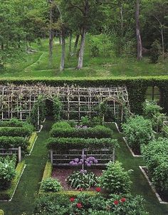 Love the arbor and the path leading out into the woods behind the garden.: