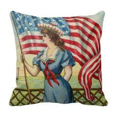 "Retro 4th July independence day Pillows (<em data-recalc-dims=""1"">$33.95</em>)"