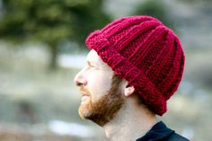 Beginner ribbed knitted hat.