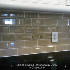 Subway Tile | Solana Beveled Glass Subway Tile In Cappuccino