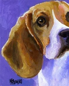 Looks just like my Barney!    Beagle Art Print of Original Acrylic Painting  by dogartstudio, $12.50