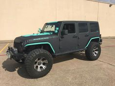 Jeep Rubicon. Black and Teal. Jeep Life. Off Road. Sexy Jeep. Flat Black.