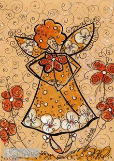 Grupart.pl - Aniołek z kwiatem - Na ścianę - Rysunek i grafika