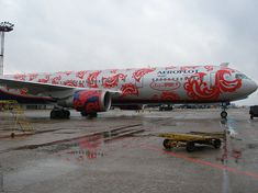 Russian airline Aeroflot painted this Boeing 767-300 red and silver to honor Russia's Olympic team.