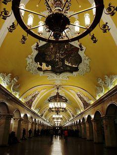 Komsomolskaya metro station in Moscow, Russia