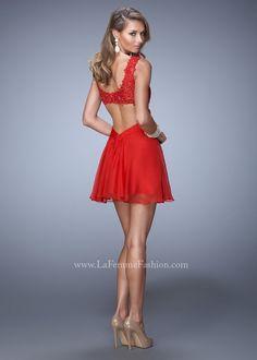 La Femme 21834 Red V-Neck Cocktail Dress #RissyRoosHomecoming