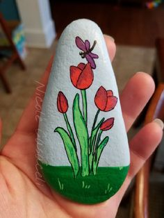 Spring tulip painted rock #52rocks #paintedrocks #kindnessrocks