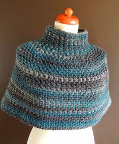 No pattern - bulky yarn (abt Crochet Twist, Crochet Art, Crochet Basics, Poncho Knitting Patterns, Knitted Poncho, Crochet Patterns, Crochet Shawls And Wraps, Crochet Scarves, Crochet Needles